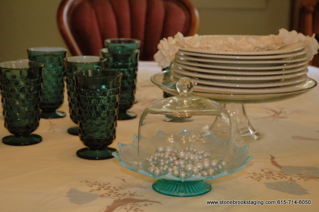 Blue Glassware in Tablescape