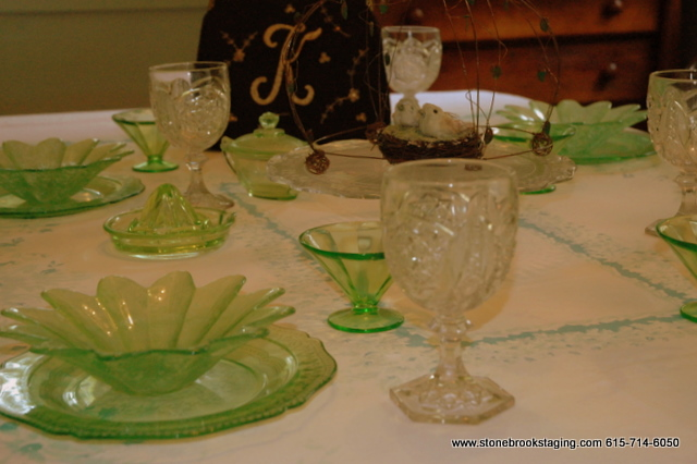 Depression Glass Tablescape