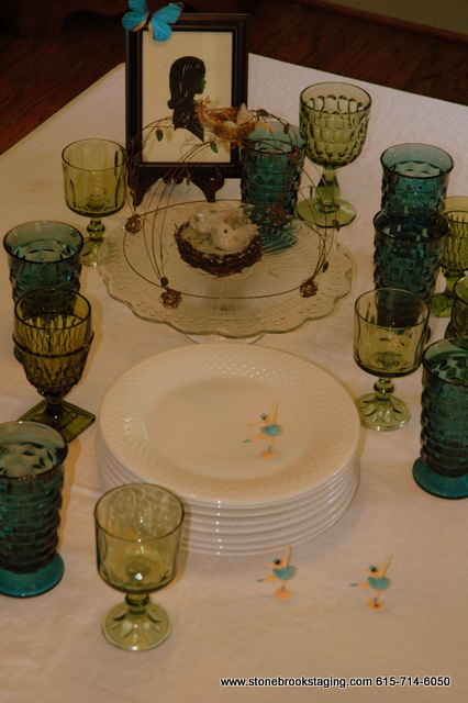 Blue and Green Glassware Tablescape #2