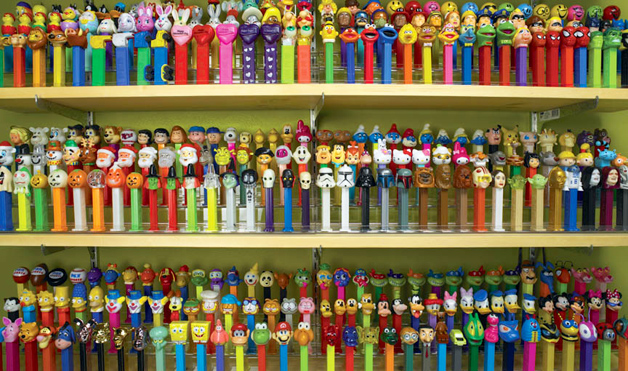 Pez collection displayed, photo credit - Kevin Rej
