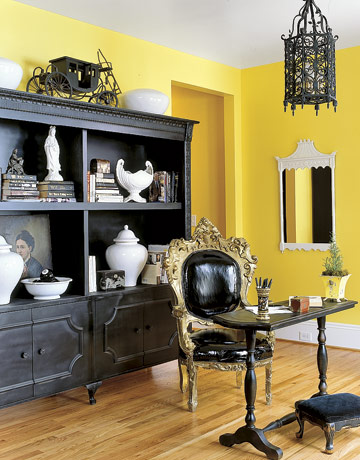 Yellow and Black Office from Country Living