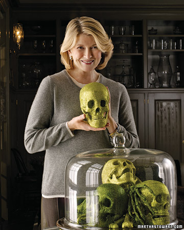 halloween skulls under glass martha stewart