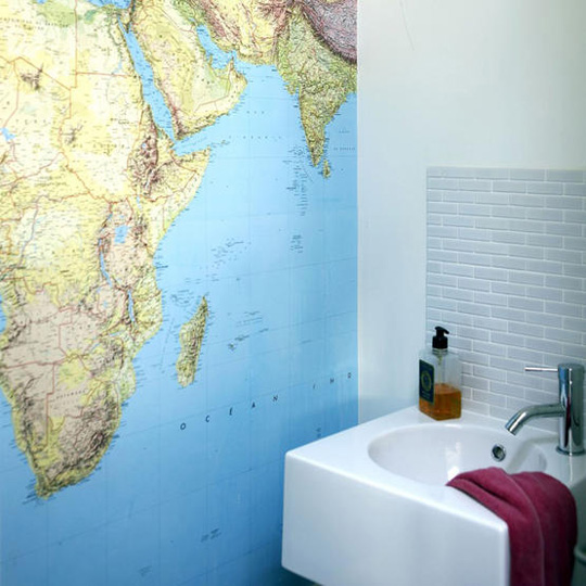 Bathroom Wall Map via apartment therapy