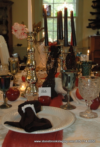 Twilight Dinner Party Tablescape Close-Up