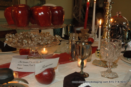 Twilight Dinner Party Tablescape Apple Centerpiece 2