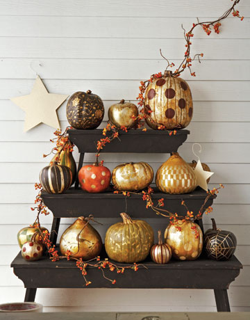 Gilded Pumpkins -  Country Living