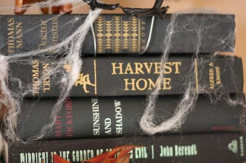 Halloween Vignette with Books