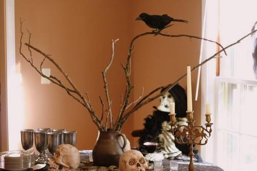 Halloween Decor Tablescape Branches Crows