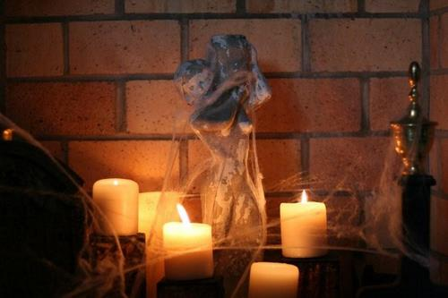 Halloween Decor Candles Fireplace