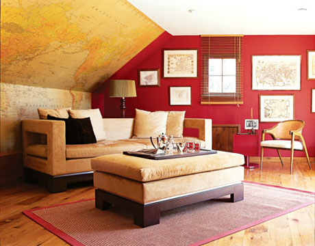 Map Wallpaper in Family Room via House Beautiful