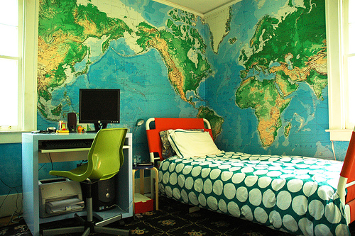 kbreenbo's son's room wall maps