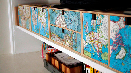 map decoupaged drawers via flickr