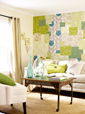 Patchwork Wall of Wallpaper via BHG