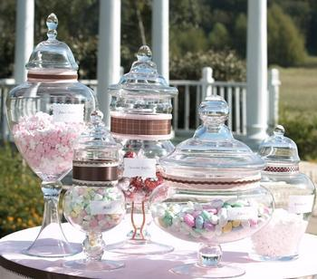 Candy Jars via dcnearlyweds