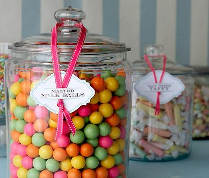 candy in jars via camilla.typepad
