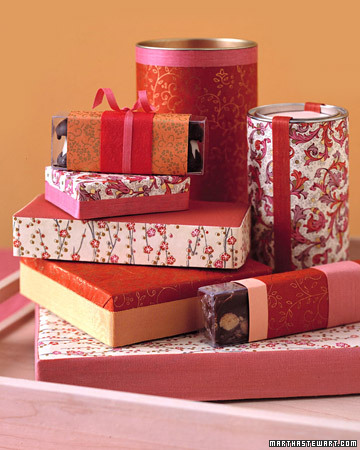 gift wrapped candy boxes by martha stewart