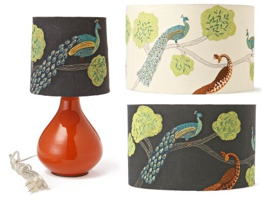 Embroidered peacock lampshade the decorologist anthropologie plumage lamp shade via apartment therapy aloadofball Choice Image