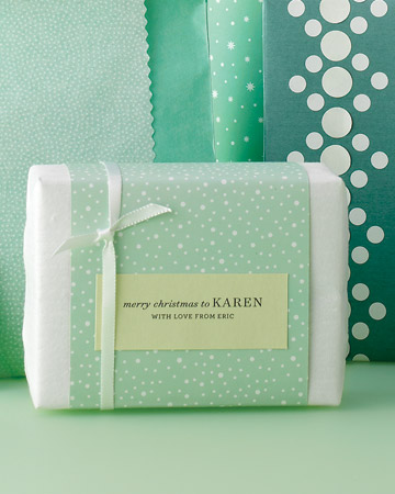 type written gift tags