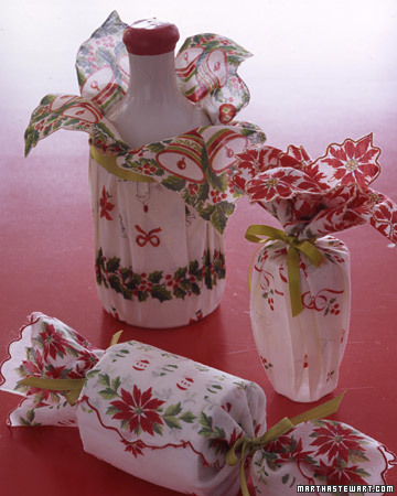 vintage linens for christmas gift wrap