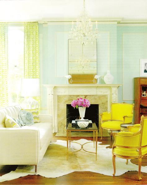 A fresh take on yellow and blue decorating the decorologist for Green and blue living room decor