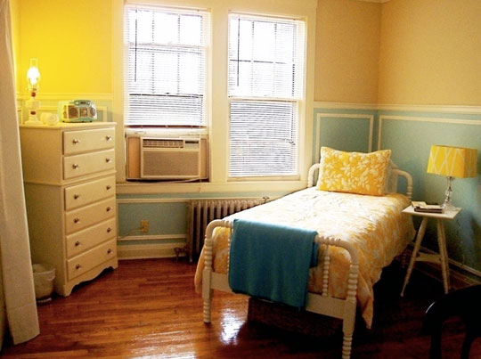 A fresh take on yellow and blue decorating the decorologist - Blue white yellow bedroom ...