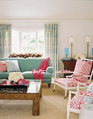 pink and aqua living room Another Example of Red + Turquoise - The Decorologist