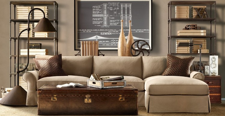 Restoration hardware goes steampunk the decorologist for Steampunk living room ideas