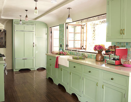 Mint green makes for a granny chic kitchen full of nostalgia and