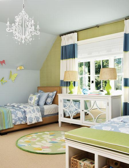 blue and green bedroom via decorpad