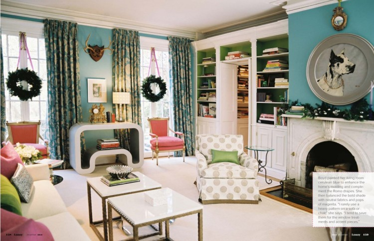 blue living room with green and pink accents via lonny - The ...
