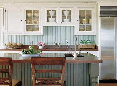 Country Kitchen with Wythe Blue painted bead board.
