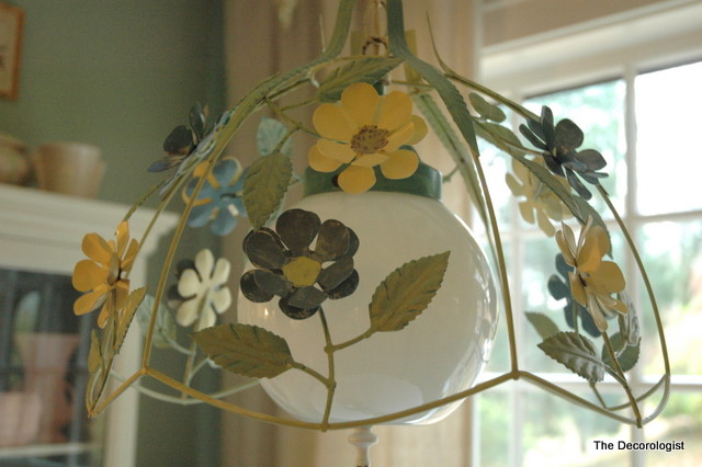 floral painted light fixture