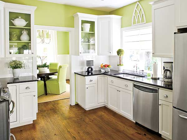 kitchen wall color, white cabinets, green walls