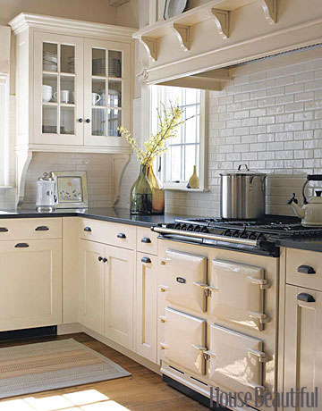 subway tile, white cabinets, aga