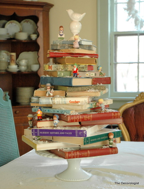 A book lover 39 s christmas tree the decorologist for Christmas tree made from old books
