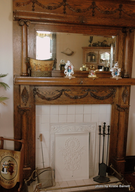 wood finish victorian fireplace