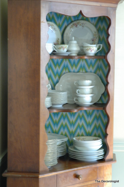 How To Spruce Up A Hutch With Shelf Liner The Decorologist