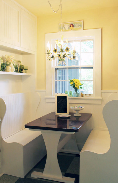 yellow white kitchen - Flush Mount Light Over Dining Table