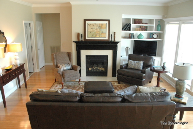 Get your furniture arrangement in balance the decorologist for Living room arrangements with fireplace