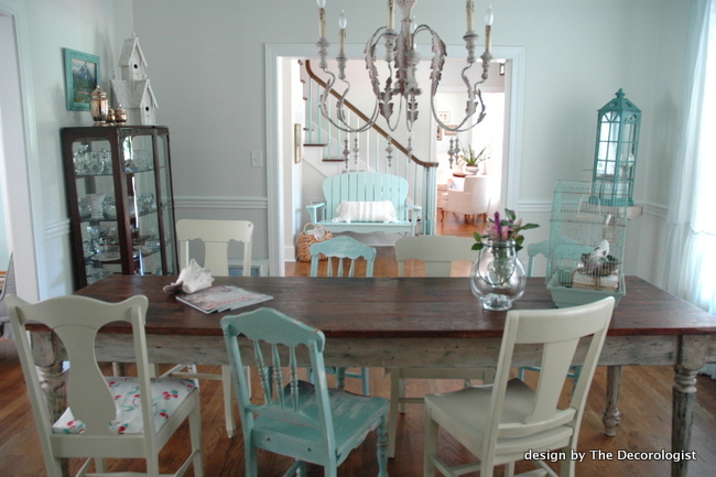 mismatched chairs dining room