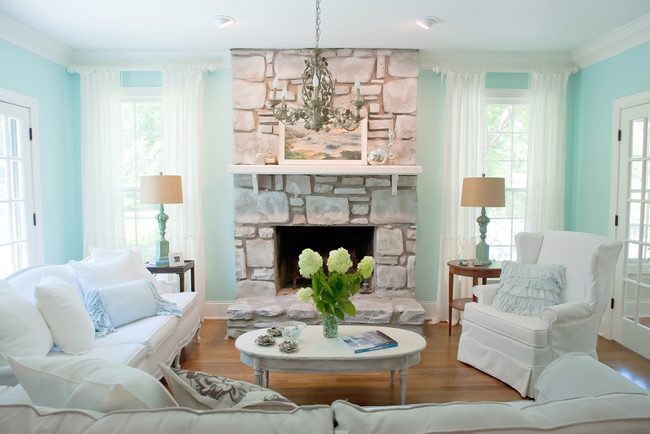 shabby chic painted stone fireplace