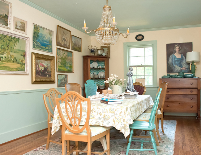 mismatched dining chairs vintage