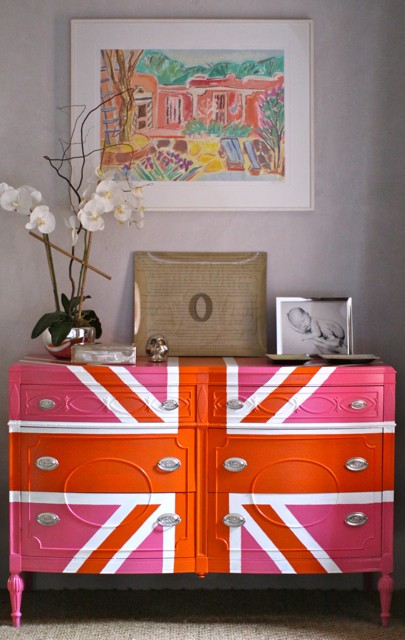 union jack painted dresser