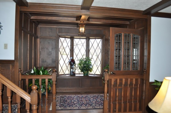 tudor wood paneling entry