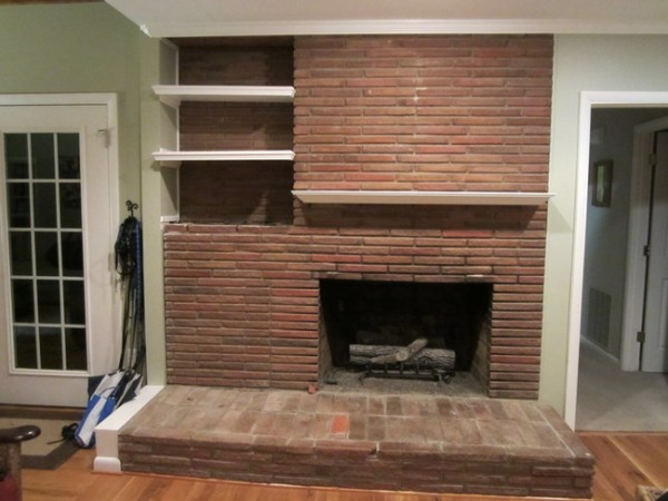 Fireplace before 600x450 The Solution to the Dated Brick Fireplace That Even Your Husband Will Approve Of