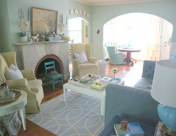 light mint green living room