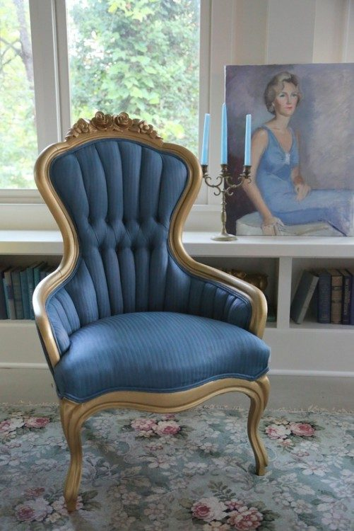 chalk paint on fabric blue chair gold accent