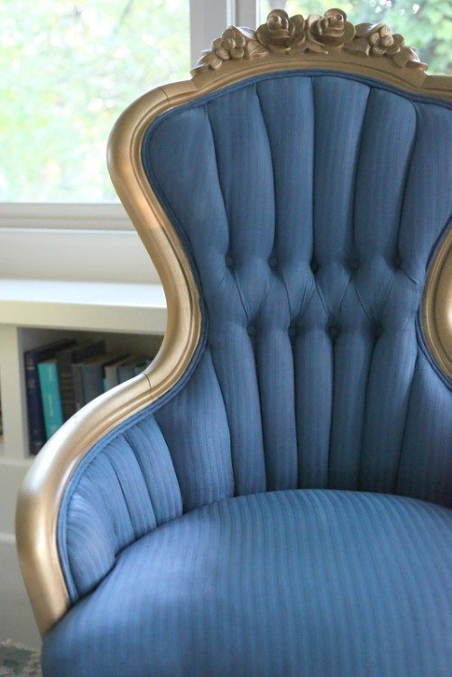 blue chalk paint on fabric chair