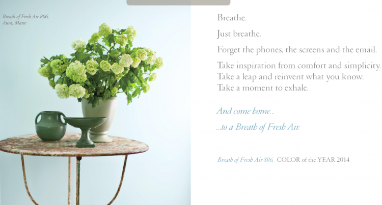 The 2014 Benjamin Moore Color Of The Year Breath Of