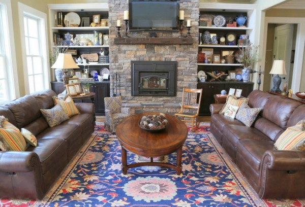 rustic traditional stone fireplace living room